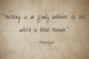 nothing is so firmly believed as that which is least known